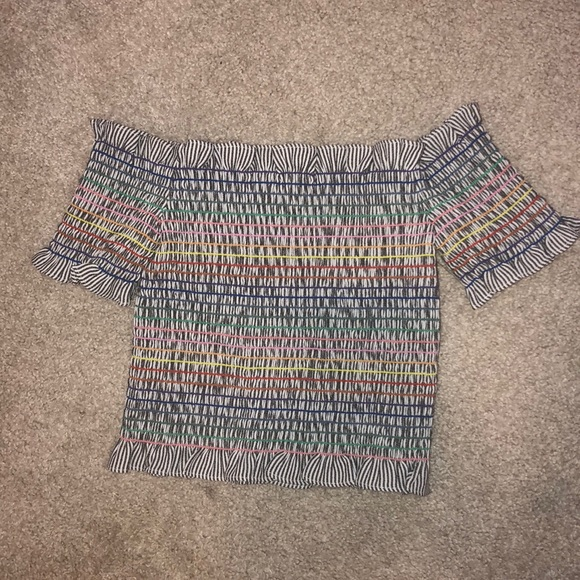 Tops - Rainbow smocked off the shoulder crop top